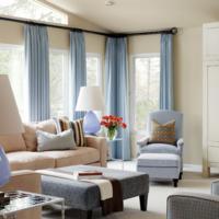 andere raamdecoratie blauwe pliss gordijnen